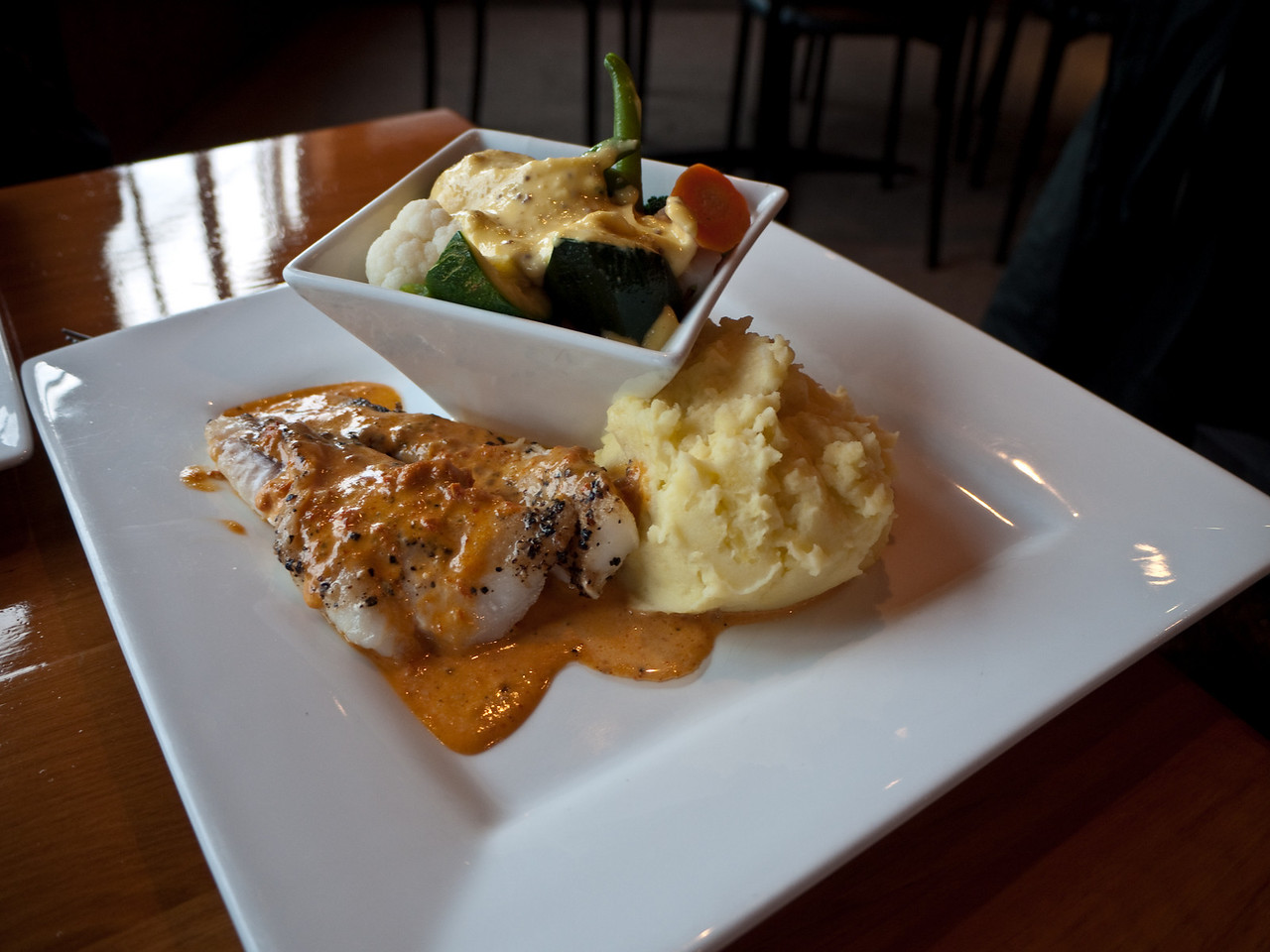 Monkfish and vegetables from the Lobster Inn Tavern, Kaikoura