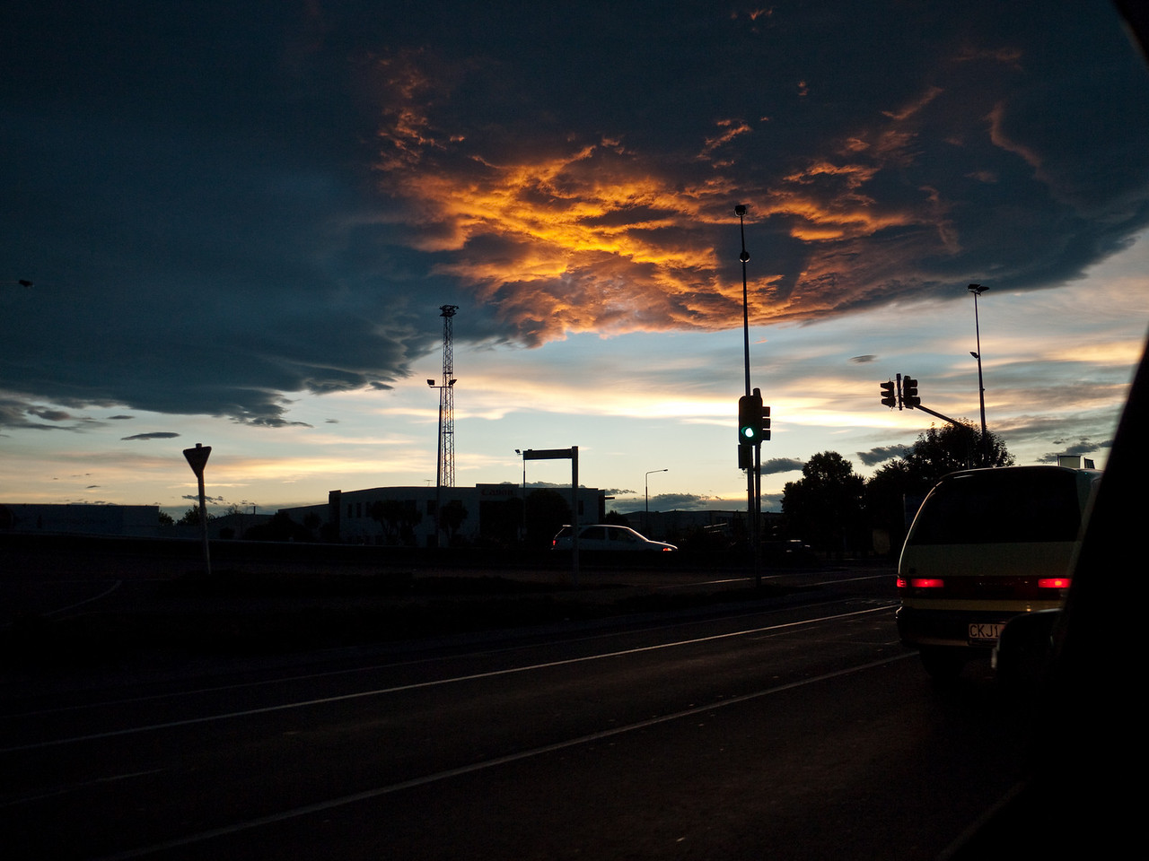Christchurch sunset, the best I could do from a moving car