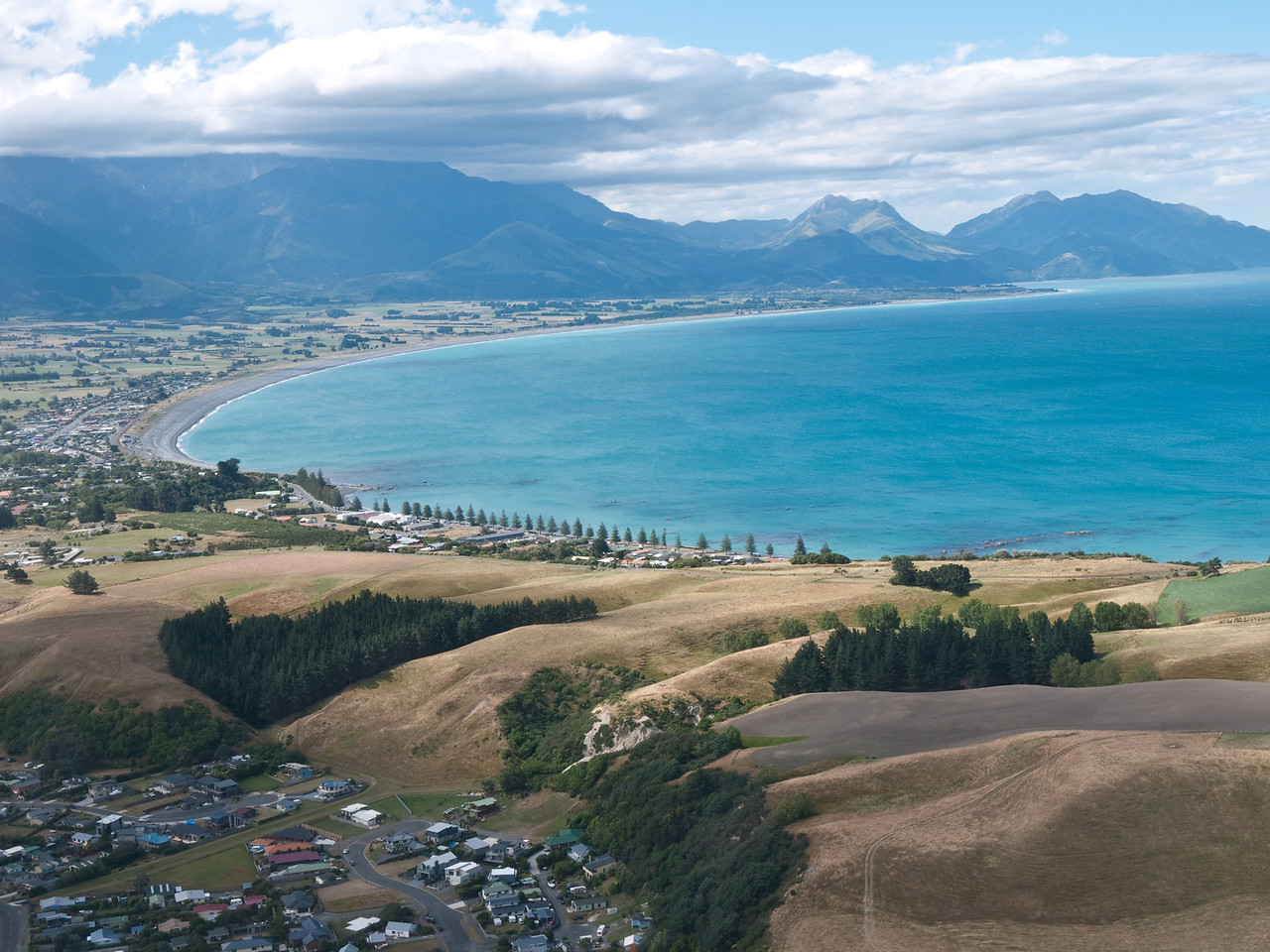 Kaikoura beachfront from the air