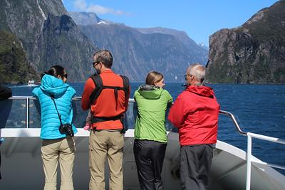 Jayna, Shane, Aunika, Sheldon on the Milford Sound cruise