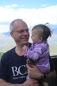 Grandpa Sheldon & Malia laughing together.