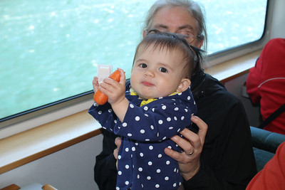 Malia loved chewing on a carrot during the Milford Sound cruise.