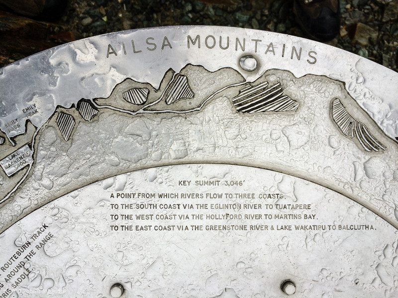 Marker at key Summit on the Routeburn Track