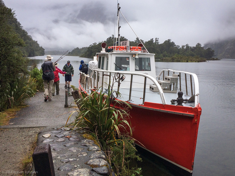 Boat at at Sandfly Point at the end of the Milford Track