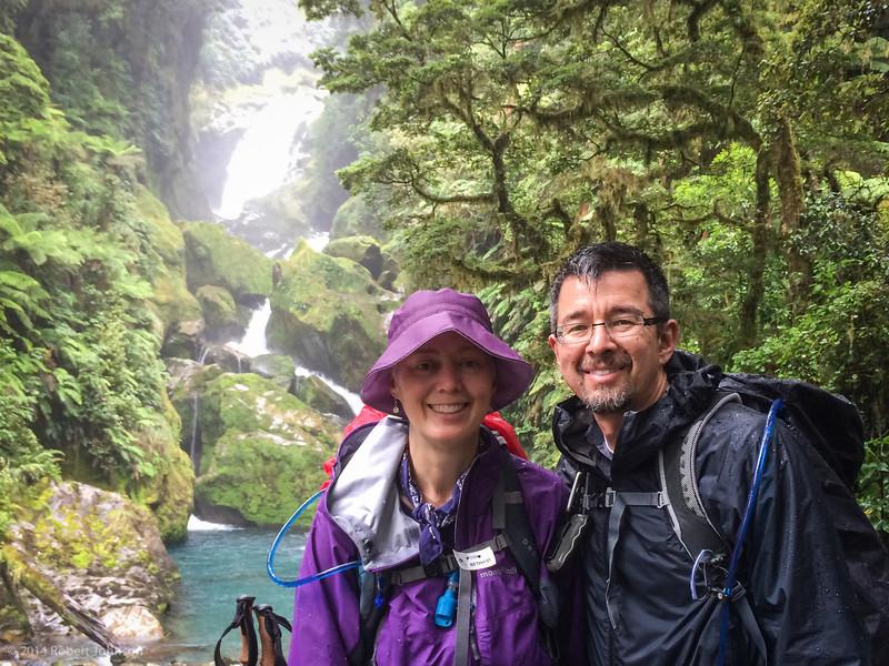 Wet hikers at Mackay Falls