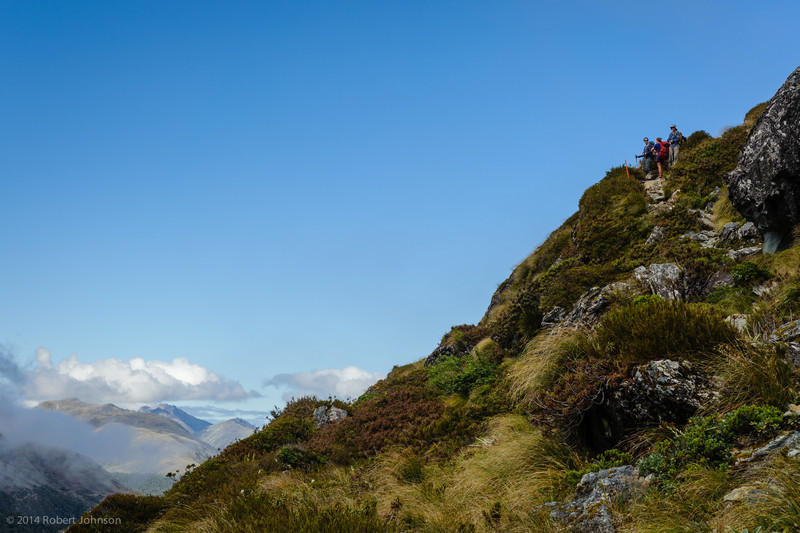 """Hikers on the Routeburn Track (44°45'35"""" S 168°10'10"""" E, 3950 ft)"""
