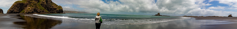 Panorama of Whatipu Beach (and K)