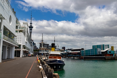 Looking back at Sky Tower from the pier.