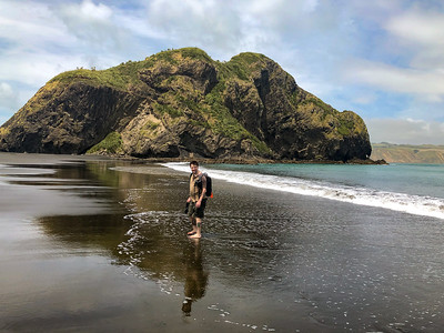 Ted at Whatipu Beach. Nice to be in the water, the black sand was burning my feet!