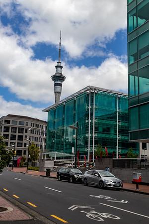 Cool glass-curtained building and Sky Tower