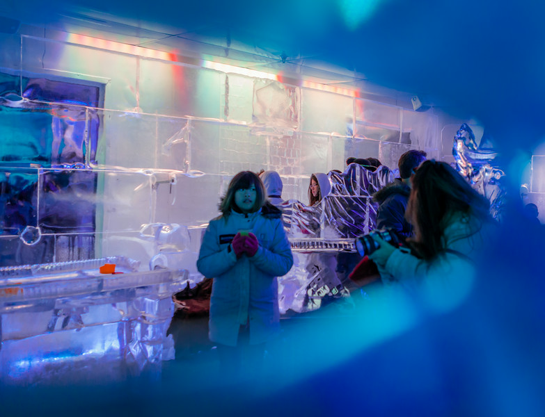 The Minus 5 Ice Bar in Queenstown, New Zealand, where everything, including the chandeliers, and even the drink glasses are fashioned from ice.