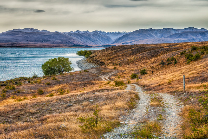 Example of one of the many unmarked roads leading to a beautiful, legal campsite. Lake Tekapo, NZ