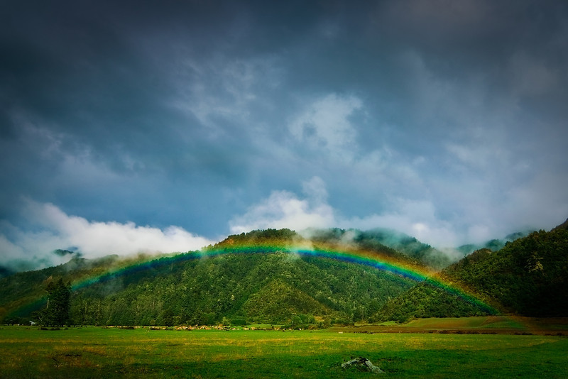 Rainbow along highway 6, South Island, New Zealand - Aotearoa