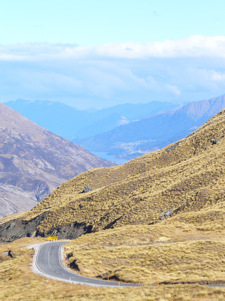 looking down the road to Queenstown, Crown Range Pass