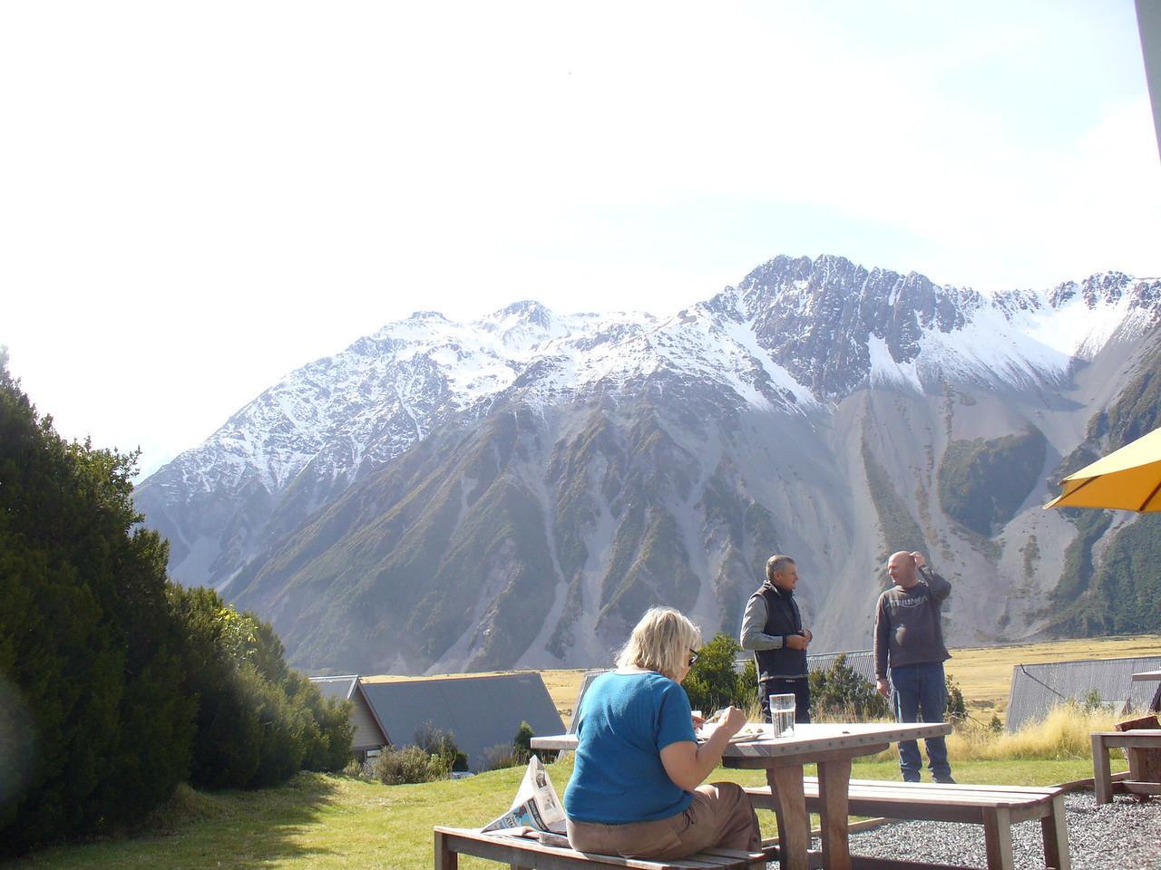 Behind Mt Cook village cafe