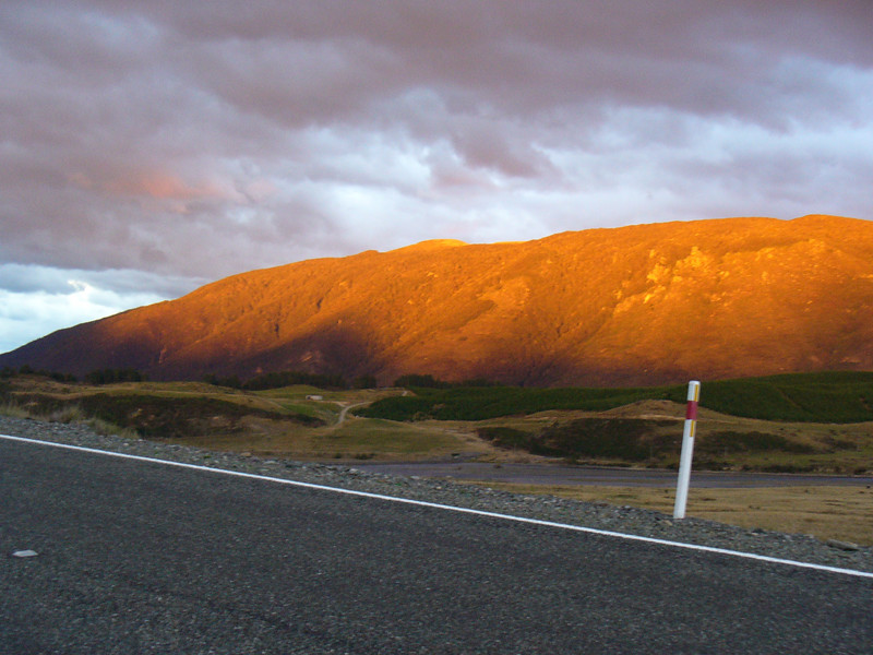 Unzuds version of Ayers Rock--early mrning between Te Anau and Manapouri
