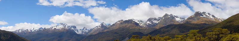 Panorama of the Humboldt Mountains in the Hollyford Valley (14 shots)