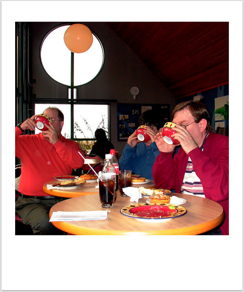Good to the last drop. Downing some good birdie soup at the Royal Albatross Sanctuary.