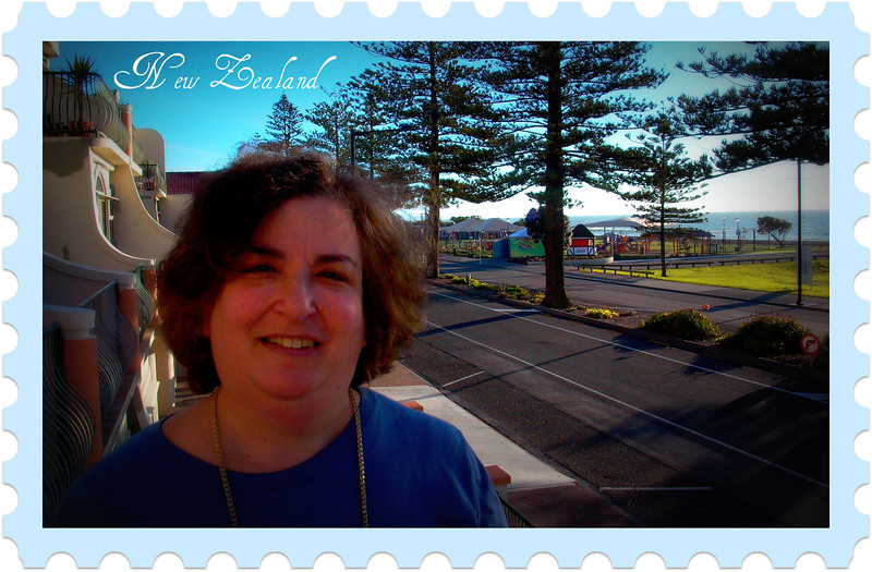 Shelley in Napier. That's the South Pacific in the background.