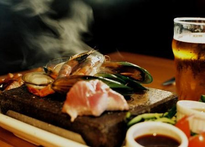 Stone grill fish