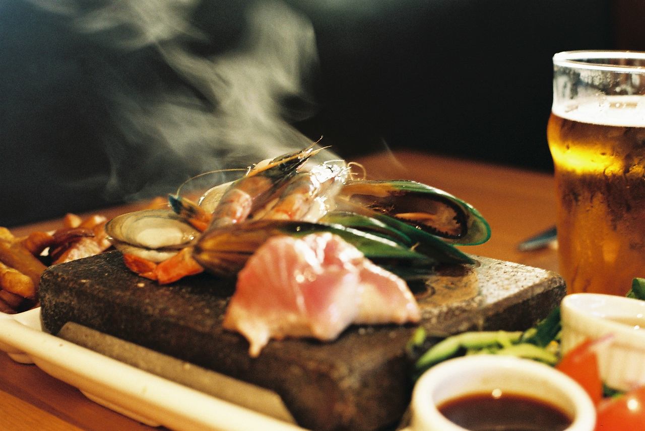 Stone grilled fish