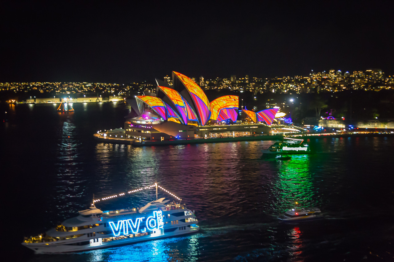 Sydney Opera House with ILoveSydney boat and the Vivid boat