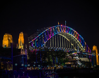 The Harbor Bridge with the vivid lighting