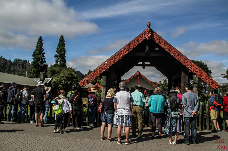 Tourists waiting for the Te Puia Maori Show