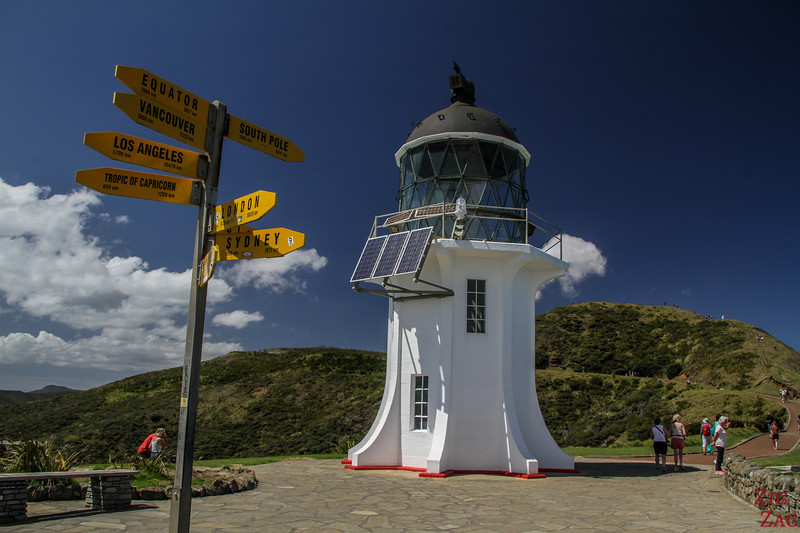 The Cape Reinga lighthouse signpost