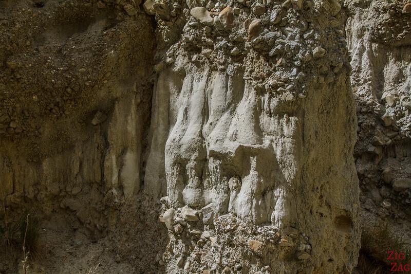 Géologie des falaises d'argile d'Omarama Nouvelle Zélande 2