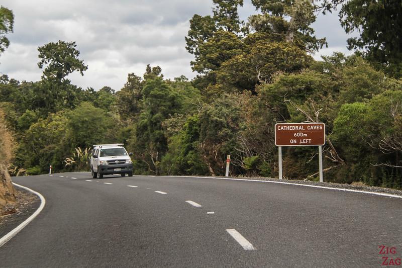 Route pour les Grottes Cathédrales