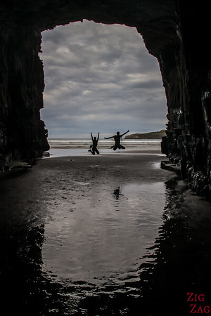 Inside the Cathedral Caves at low tide 1