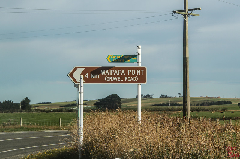 Road to Waipapa Point carpark sign