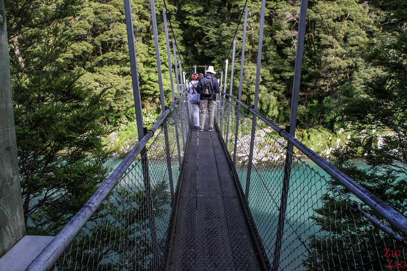Haast Blue Pools Walk - suspended bridge 2