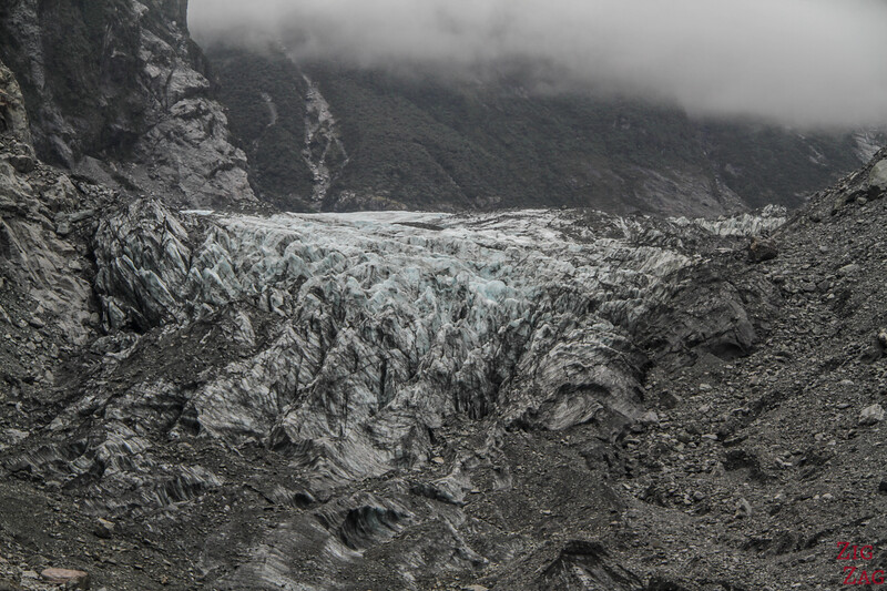 Fox glacier New Zealand - view of the glacier zoom