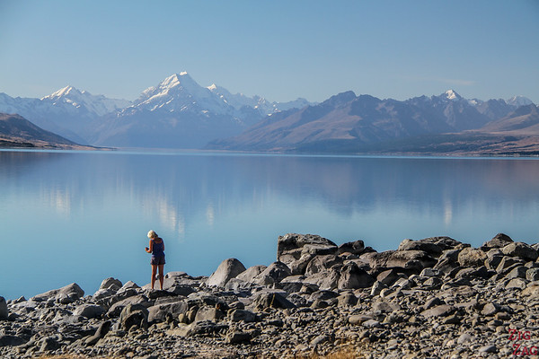 Lake Pukaki on a beautiful day in Summer