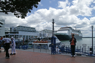 Cruise ship in Auckland harbor, North Island, New Zealand