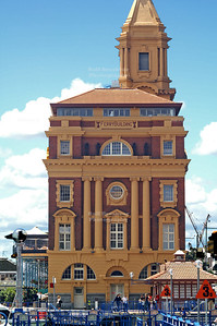 Old ferry terminal in Auckland harbor, North Island, New Zealand