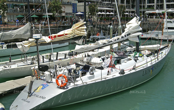 The legendary 80 ft yacht Lion New Zealand in Auckland's Viaduct Harbor