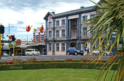 Christmas decoration over main street Timaru, Canterbury, South Island, New Zealand
