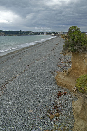 Overcast sky at a gravel beach near Oamaru, Otago, South Island, New Zealand