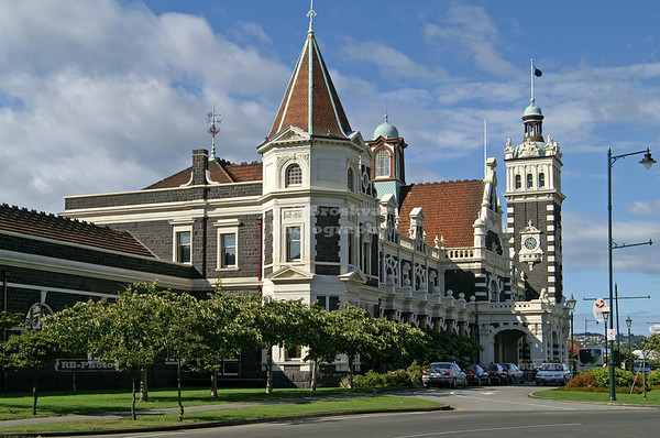 Dunedin Railway Station, with its clock tower to the right, is one of the best well known buildings on the South Island of New Zealand