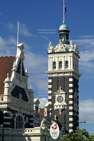Clock tower at Dunedin Railway station, Dunedin, Otago, South Island, New Zealand
