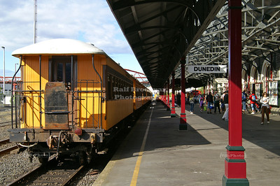 Train of the Taieri Gorge Railway at the main platform of Dunedin Railway Station, Otago, New Zealand