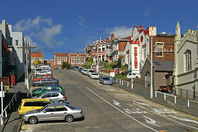 Typical residential street in Dunedin, Otago, South Island, New Zealand