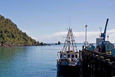 Jackson Bay was originally named Open Bay by Captain Cook Looking towards Jackson Head from the jetty  January 2010