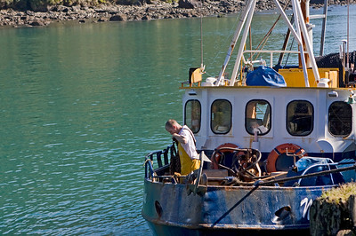 Preparing for the day - fishing trawler at Jackson Bay  January 2010