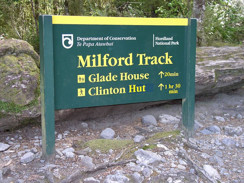 The sign at the begining of the track