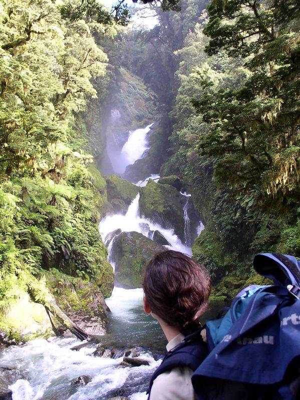 Jenna, looking at a waterfall