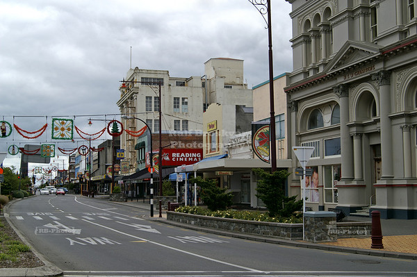 Street with Christmas Decoration in Invercargill, New Zealand's southernmost city.